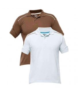 Pack of 2 White & Brown Cotton Polo Shirt for Men