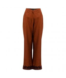 Brown Cotton Palazzo Pants with Embroidered Bottoms