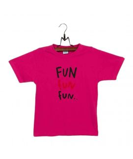 Dark Pink Cotton Jersey T Shirt with Printed Front for Both
