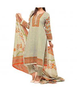 Women's Stylish Multicolor Lawn Printed Suit 3 Pcs