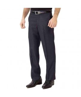 Navy Cotton Blended Self Design Small Checkered Formal Dress Pants For Gents