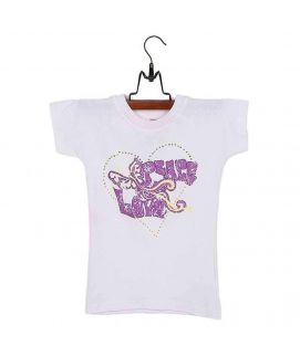 Fashion Café White Cotton Jersey Top with Printed Front for Girls