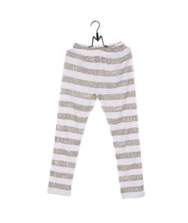 Fashion Café White & Green Striped Cotton Tights For Girls