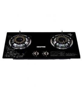Geepas Glass Gas Stove with Two Infrared Burner - Black