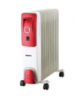 Geepas 11 Fins Oil Filled Radiator Heater With Fan - White & Red