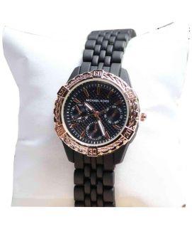 Jet Black & Golden Luxury Style Women's  Wrist Watch