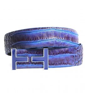 Two Shaded Leather with H logo Belt for Men's
