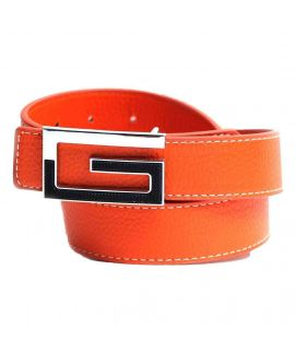 Stylish Orange Leather with G Logo Belt for Men's