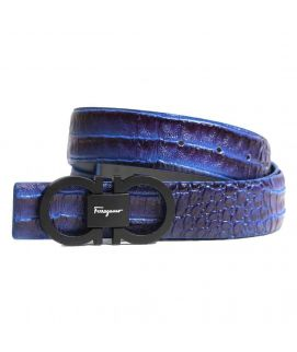 Stylish Shininh Blue Leather with Logo Belt for Men's