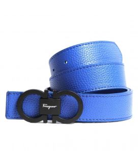 Stylish Blue Leather with Logo Belt for Men's