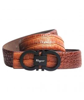 Stylish Dark Brown Leather with Logo Belt for Men's