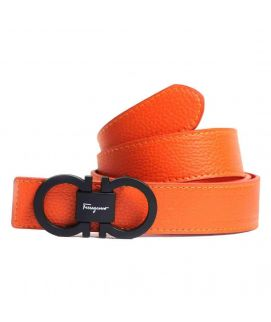 Stylish Orange Leather with Logo Belt for Men's
