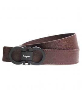 Stylish Brown Leather with Black Logo Belt for Men's