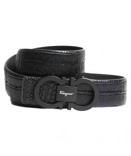 Stylish Shining Black Leather with Logo Belt for Men's
