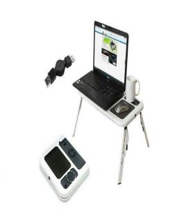 JanJee E-Table With Laptop Cooling Pad - Black & White