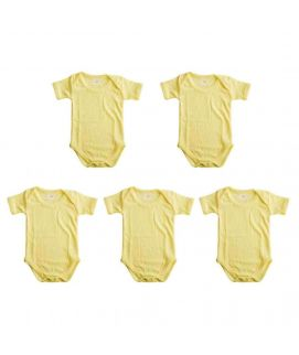 Light Yellow 5 Pcs Set Of Unisex Rompers For 3-6 Months Old Babies