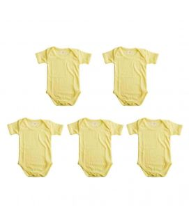 Light Yellow 5 Pcs Set Of Unisex Rompers For 6-12 Months Old Babies