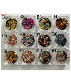 12 Nail Art Glitter Round Shapes Confetti Sequins Acrylic