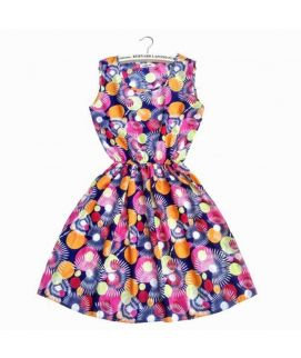Women's Round Neck Floral Printed Frock
