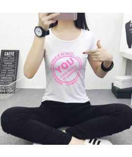 Women's White Printed Colorful Cotton Short Sleeve O Neck T Shirts