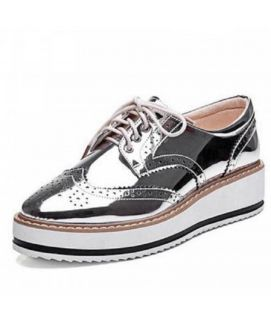 Women's Silver Oxford Lace Up Shoes