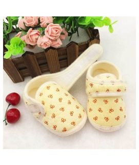 Yellow Cotton Soft New Born Baby Shoes