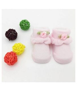 Rose Pink Soft Cotton Baby Shoes