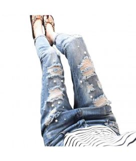 Women's Ripped Damaged Jeans