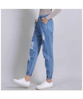 Blue Ripped Style Jeans Trouzers