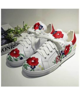 Women's White Flower Print Lace Up Shoes