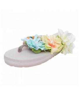 Women's White Flower Straps Slippers