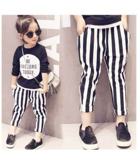 Girls Black And White Striped Pants