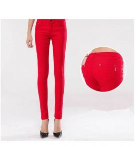 Women's Slim Fit Red Jeans