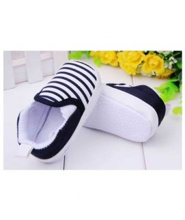 White & Black Cute Baby Stripes Shoes