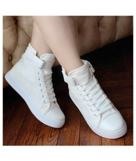 Women's White Strap & Lace Trainers