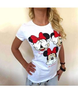 Women's White Mickey Mouse Print Casual T-Shirts