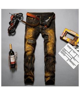 Brown Printed Men's Stylish Jeans