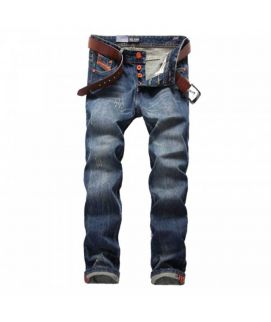 Blue Straight Fit Button Fly Men's Jeans