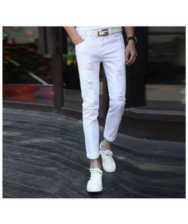 White Ripped Slim Fit Men's Jeans