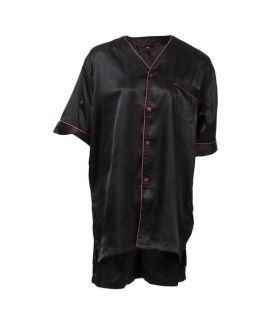 Polyster Solid Satin Black Men's Short Pj Set With Piping