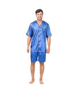 Royal Blue Polyester Satin Nightwear with Shorts  MBS02RB