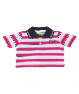 Pink & White Jersey Polo Shirt For Boys   7667
