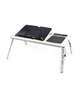 E Table With Laptop Cooling Pad White