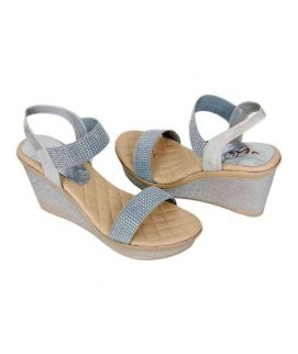 Women's Silver Two Strap Wedges