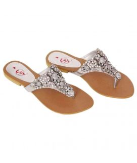 Women's White With Stone Work Flats