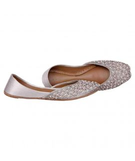 Women's Silver Leather Stylish Embroidered Khussa