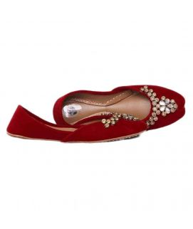 Women's Red Khussa With Stylish Design