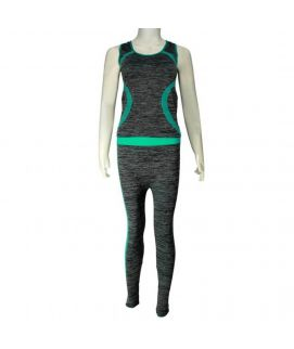 2 Piece Mesh Stretchy Training Suit Grey & Green