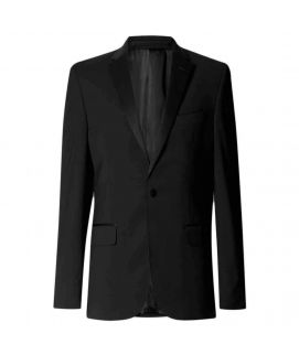 Men's Black Tailored Wool Rich Jacket with Lycra