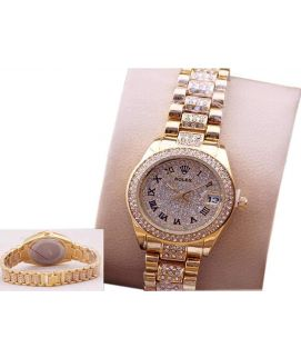 Diamond Chain Strap and Gold Diamond Dialer Watch for Ladies